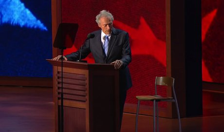 Clint Eastwood at the 2012 Republican National Convention. Youtube/PBSNewsHour. All rights reserved.