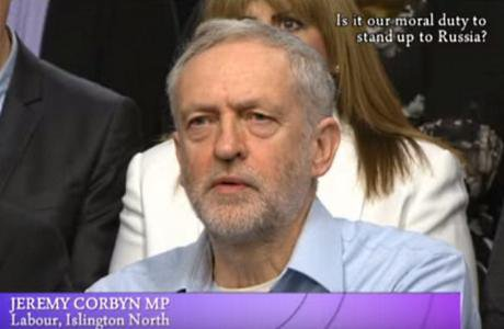 Jeremy Corbyn speaks on Ukraine on BBC One's 'Big Questions', 9 March 2014. Still via YouTube