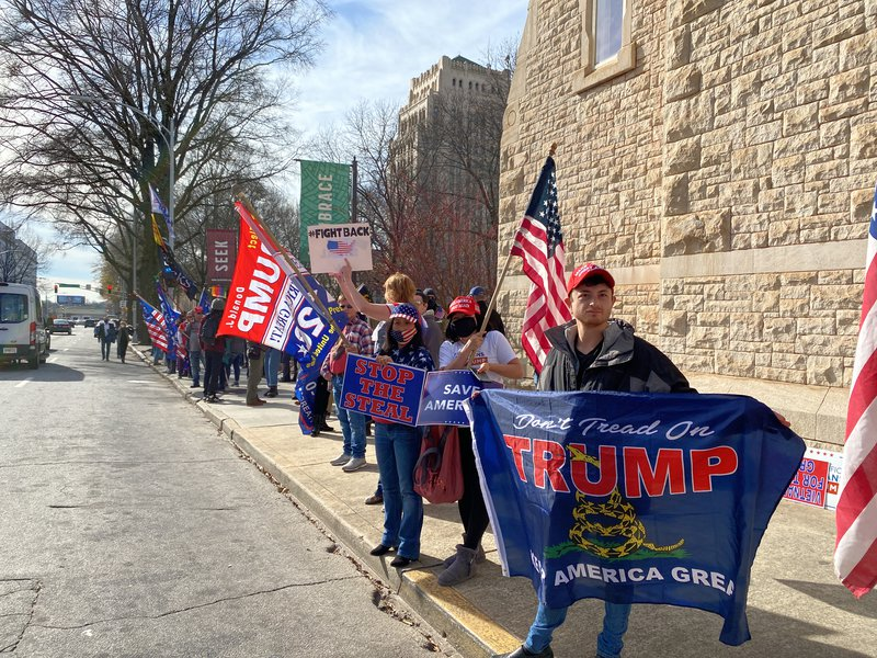 Trump supporters protest outside the Georgia State Capitol building