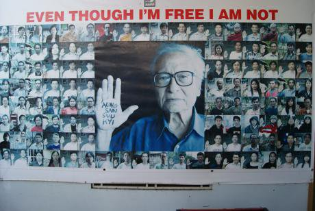 A photo montage at the Assistance Association for Political Prisoners' Office-Yangon. (Image by author)