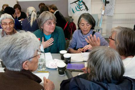 Women in a workshop session discussing one of the topics