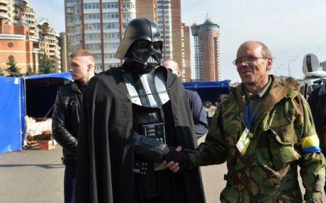 Presidential hopeful Darth vader meets potential voters in Kyiv.