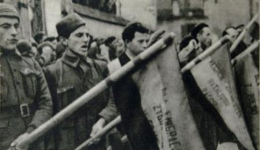 Polish Volunteers serving in the International Brigades. Approximately 35,000 foreigners volunteered for the Republicans.