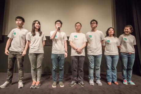 Joshua Wong, Agnes Chow, and other Demosisto members.