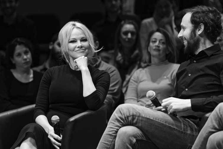 Pamela Anderson and philosopher and political activist, Srecko Horvat, at the launch of DiEM25's European Spring, the first transnational electoral list, on March 25, 2019 in Brussels, Belgium.