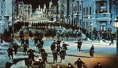 Cossacks attack a peaceful demonstration, from the film trailer, Doctor Zhivago (1965).
