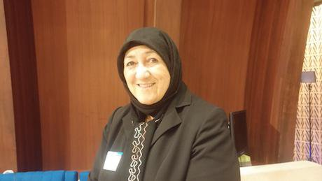 Dr. Sakena Yacoobi just before her speech at the World Forum for Democracy. Photo: Fernando Ramirez