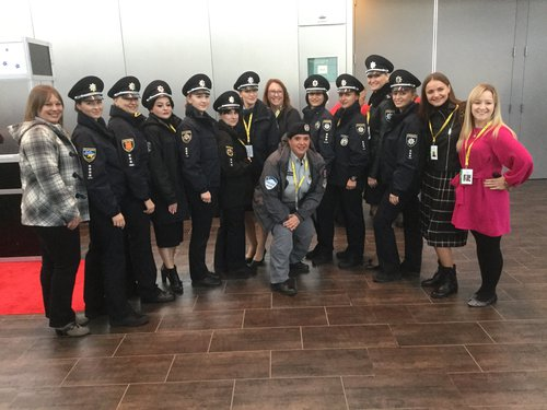 Sylvia Desousa and Ukrainian police officers