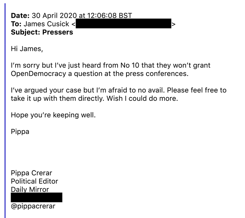 Pippa Crerar, chair of the parliamentary press gallery, informs our reporter James Cusick of the decision to bar openDemocracy.