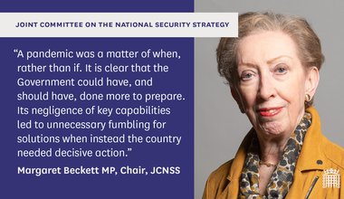 Margaret Beckett Twitter card about report from Joint Committee on the National Security Strategy