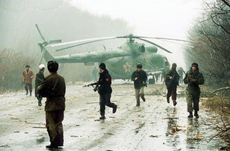 Chechnya helicopter shot