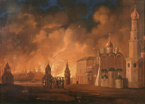 Fire of Moscow, 1812 by Alexander Smirnov (1813).