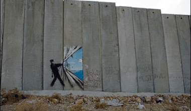 Freedom: Banksy's painting in the Wall in the West Bank, Palestine