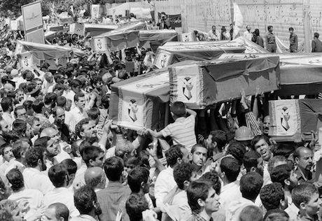 Funeral parade after 1988 Iran disaster. Associated Press:Wikimedia commons. Public Domain.jpg