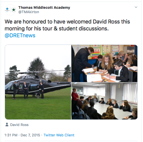 Screenshot of tweet which shows a helicopter, David Ross disembarking