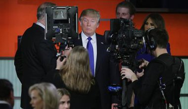 Republican presidential candidate Donald Trump participates in a debate sponsored by Fox News on March 3, 2016.