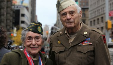 World War II veterans Margie Zwick, Women's Army Corps, and Arnold Strauch, U.S. Army, look on before the annual Veterans Day parade November 11, 2009 in New York City.  Mario Tama/Getty Images North America.