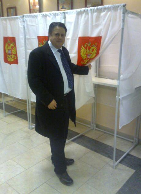 Nick Griffin, leader of the British National Party, as an observer at the 2011 parliamentary elections in Russia.