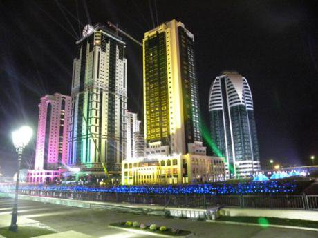 The bright lights of Grozny-City's skyscraper complex