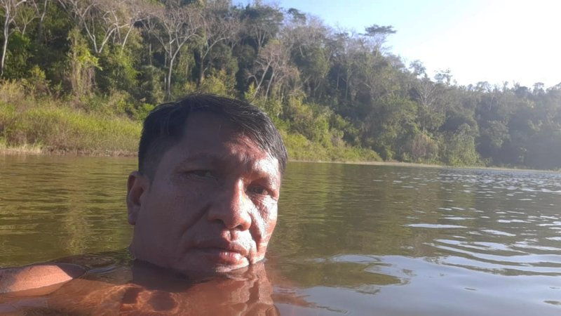 Olimpio Guajajara, the leader of the Guardians of the Forest, bathes in a river on Arariboia indigenous land in Maranhão