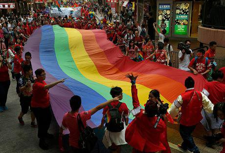 Participants attend the most recent Hong Kong Pride in November 2013