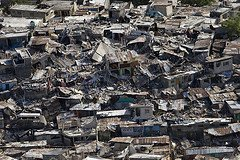 The damage to a poor neigbourhood in Haiti