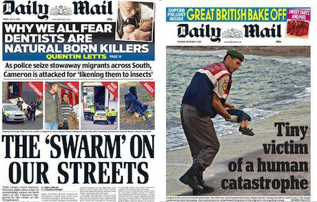 How the Daily Mail covers refugees when they are not the subject of a viral photo, left