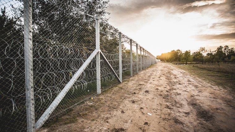 A fence on the border between Hungary and Serbia. Hundreds of miles of new walls have been constructed in Europe since the 1990s.