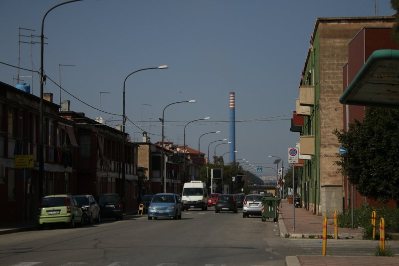 Via Orsini, the main street in Tamburi, the blue collar district that backs onto Ilva