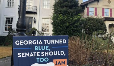 """Georgia turned blue, Senate should too"" sign for 5 January 2021 election"