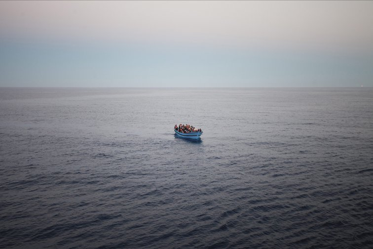 One of six boats arriving during a Mare Nostrum rescue mission in the Central Mediterranean.