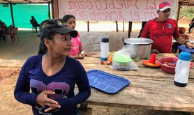 Women in a demobilisation zone.