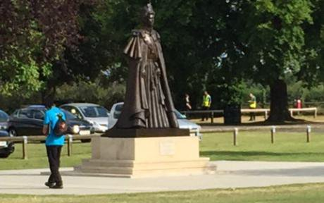 The statue of the Queen, unveiled as part of the anniversary celebrations.