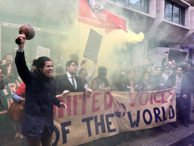 UVW-organised workers outside the Ministry of Justice