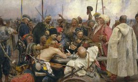 'Reply of the Zaporozhian Cossacks to Sultan Mehmed IV' by Ilya Repin, 1891