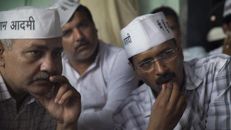 Arvind Kejriwal (right) and his party colleagues. Courtesy of Memesys Lab. All rights reserved.