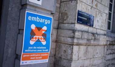 A poster in Belgium against academic cooperation with Israel