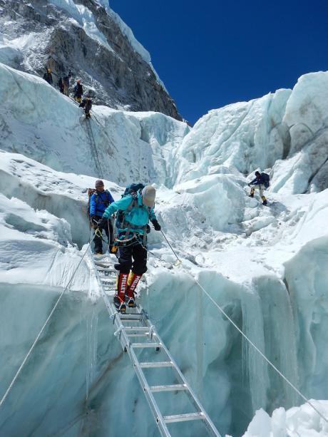 Ladder crossing in the Khumbu Ice Fall.