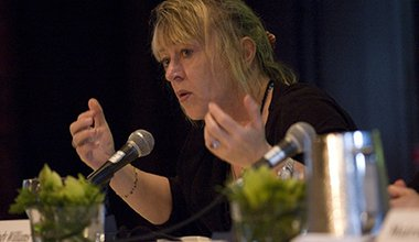 Jody Williams speaking at the 2011 conference