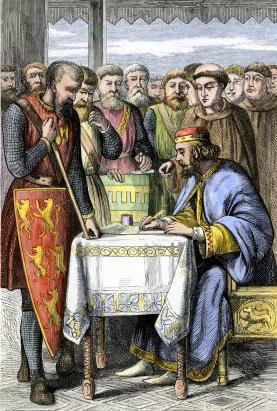 9th century coloured wood engraving of King John of England signing Magna Carta.