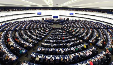 Plenary hall (with deputies) of European Union parliament at Strasbourg