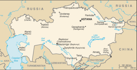 A map of Kazakhstan. It is landlocked and borders Russia to the north, China to the west; Uzbekistan and Kyrgyzstan to the south