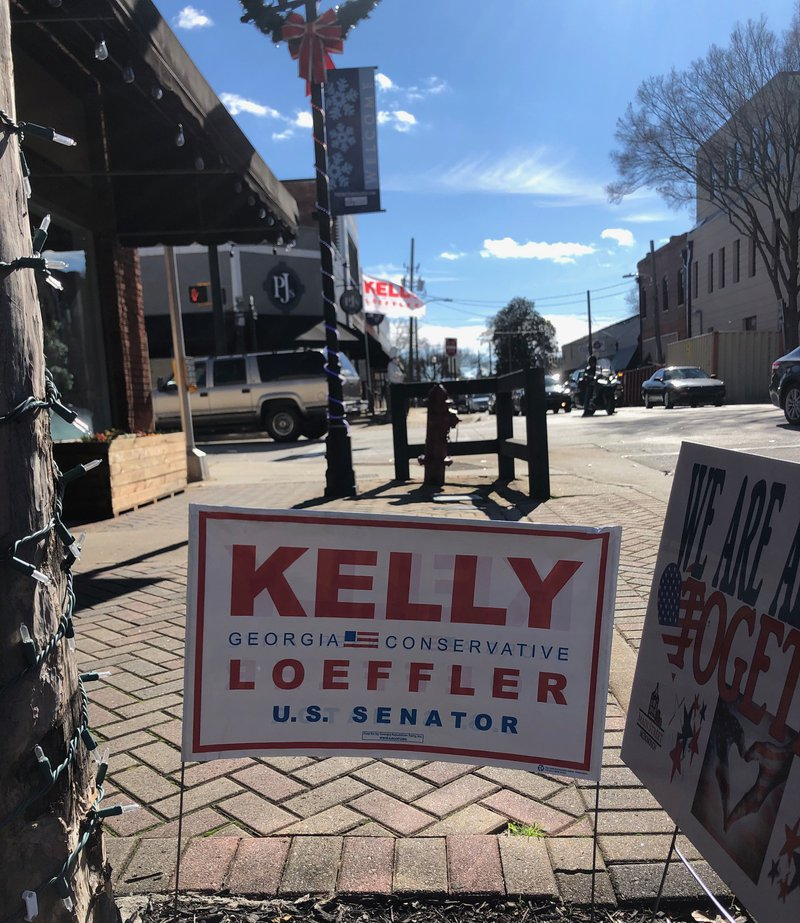 Sign for Kelly Loeffler in Georgia Senate election, 3 January 2021