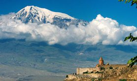 Mount Ararat and Khor Virap Monastery, one of Armenia's most visited pilgrimage sites. Andrew Behesnilian/Public Domain - CC