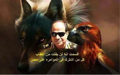 Graphic with Sisi's image, a hawk and a dog plus Arabic text
