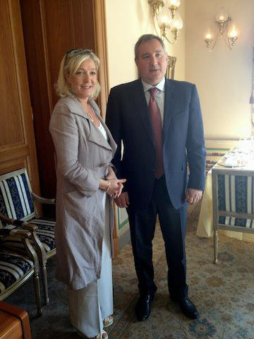 Front National's leader Marine Le Pen and Russia's Deputy Prime Minister Dmitry Rogozin in Moscow, 2013