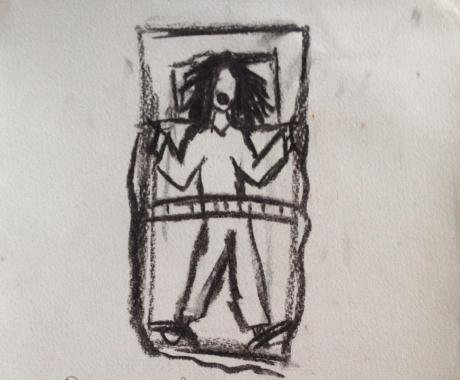 How did anger at the world lead to two years in psychiatric hospitals? Drawing by Lea.