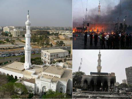 The mosque, the fire and the damage done to it as a collage