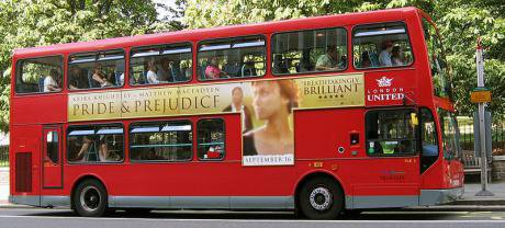Advertisement on London bus for the film Pride and Prejudice, featuring Kiera Knightley