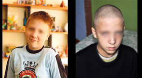 Lyosha: pictures taken a month apart, before and after stay in psychiatric hospital